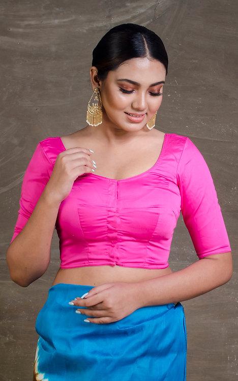 Bubble Gum Pink Designer Saree Blouse in Size 36