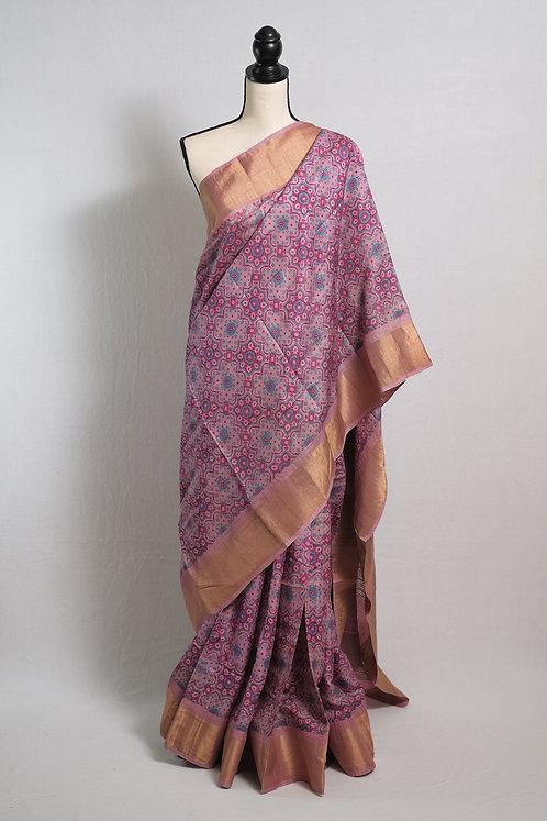 Premium Quality Zari Border Ajrakh Tussar Saree in Pink and Blue