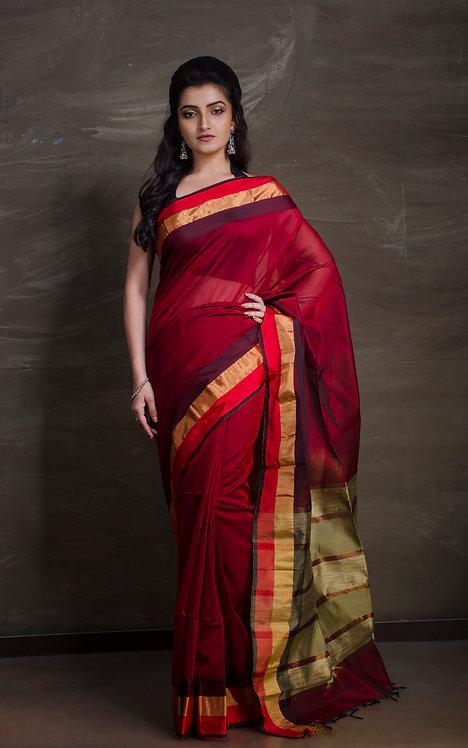Maheshwari Cotton Silk Saree in Dark Red and Gold
