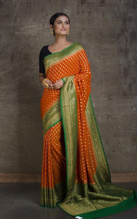Pure Khaddi Georgette Banarasi Saree in Burnt Orange and Green