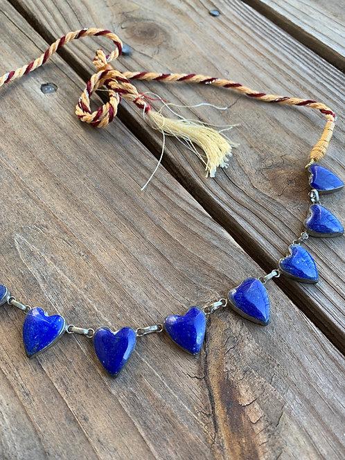 Original Lapis Lazuli Bright Sapphire Blue Heart Necklace with a Tassel