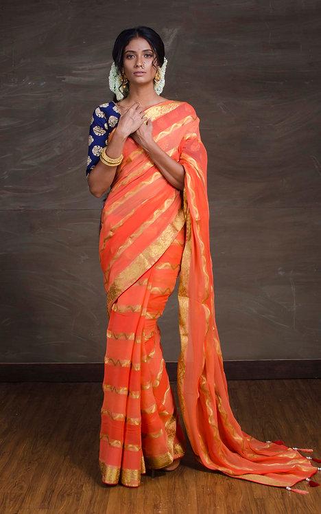 Designer Chiffon Banarasi Saree in Orange and Gold