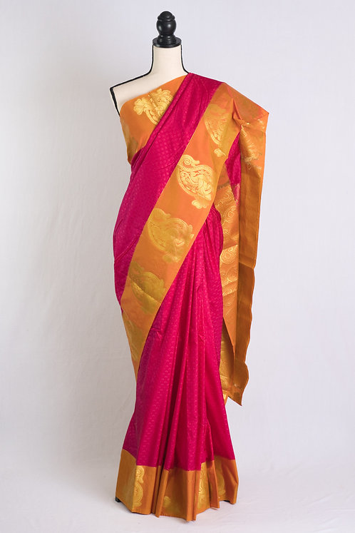 Blended Silk Kanjivaram Saree in Hot Pink and Orange
