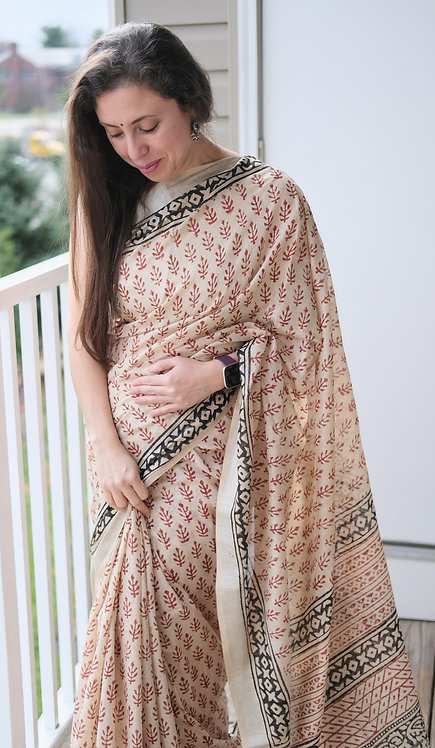 Block Printed Linen Cotton Saree in Cream, Black and Red