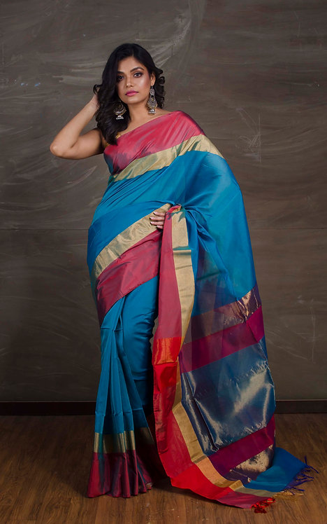 Maheshwari Cotton Silk Saree in Peacock Blue, Red and Gold