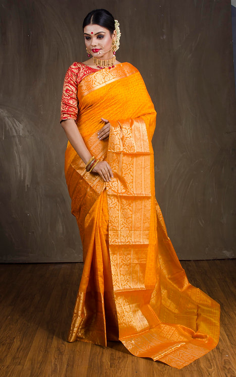 Kanjivaram Saree in Turmeric Yellow and Gold