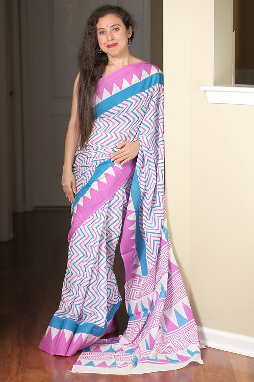Soft Mulmul Cotton Saree in White, Pink and Blue