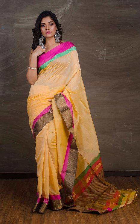 Pure Maheshwari Cotton Silk Saree in Butterscotch Yellow and Pink