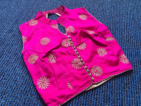 Hot Pink Zari Embroidery Blouse In Size - 30