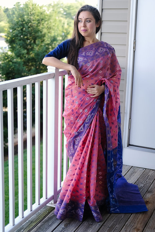 Pink and Blue Dhakai Jamdani Saree
