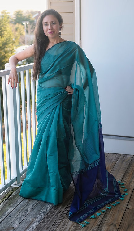 Soft Cotton Saree in Rama Green and Blue