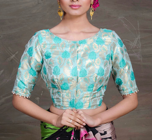 Designer Saree Blouse in Sea Green of Size 40