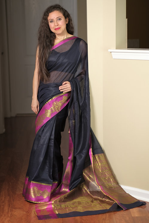 Blended Cotton Banarasi Saree in Dark Blue and Magenta
