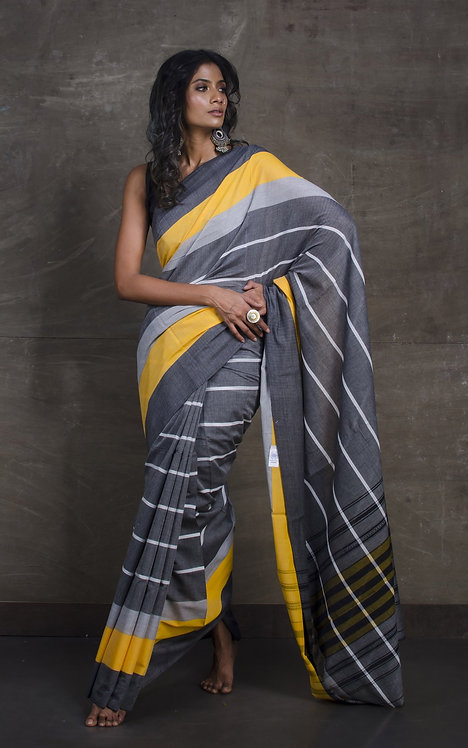 Designer Bengal Handloom Soft Cotton Saree in Gray, Yellow and White