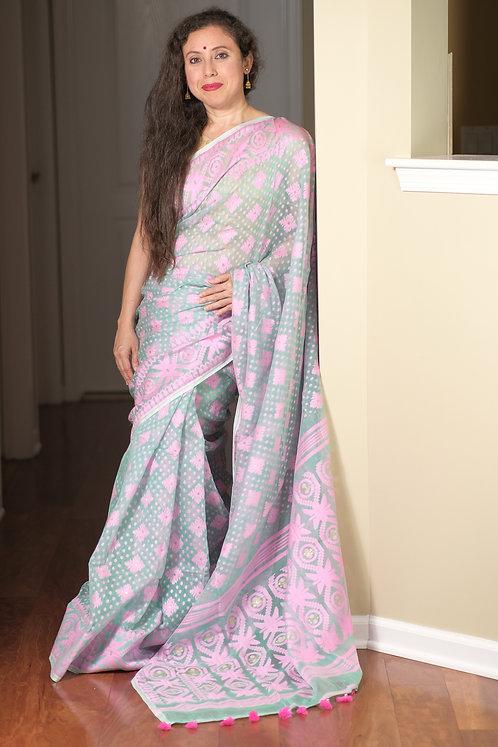 Soft Jamdani Saree in Sea Green and Pink