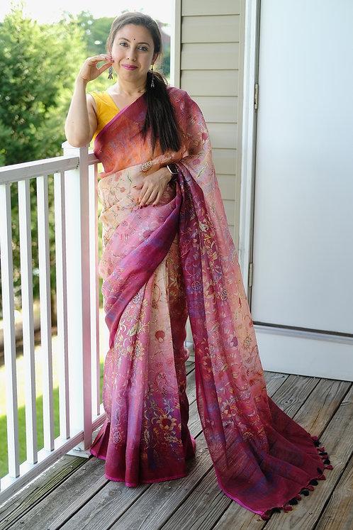 Digital Printed Floral Linen Saree in Magenta