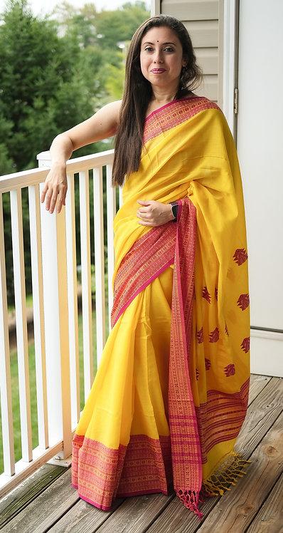 Pure Khadi Soft Cotton Saree in Yellow And Dark Pink