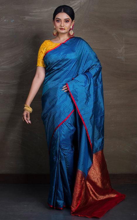 Micro Checks Banarasi Silk Saree in Blue, Green and Red