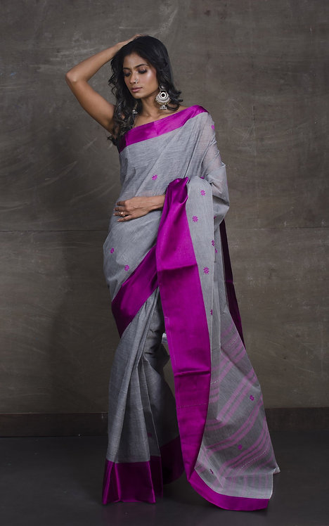 Bengal Handloom Cotton Saree with Starch in Gray and Purple