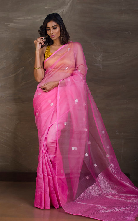 Half and Half Matka Muslin Saree in Pink and Silver