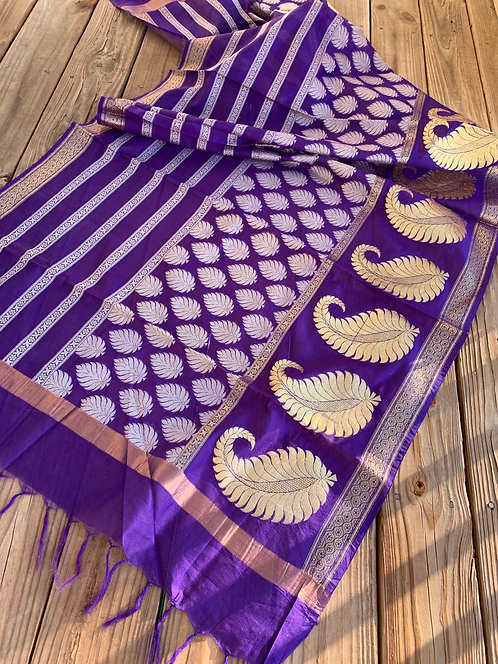 Cotton Banarasi Dupatta in Eggplant Blue, White and Gold