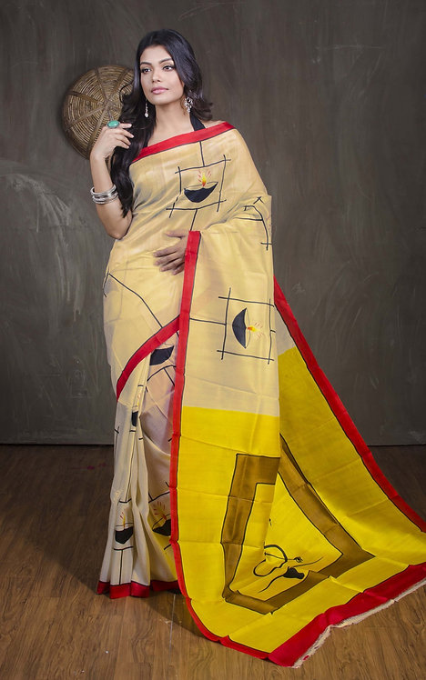 Printed Pure Silk Saree in Butter Cream, Yellow and Black