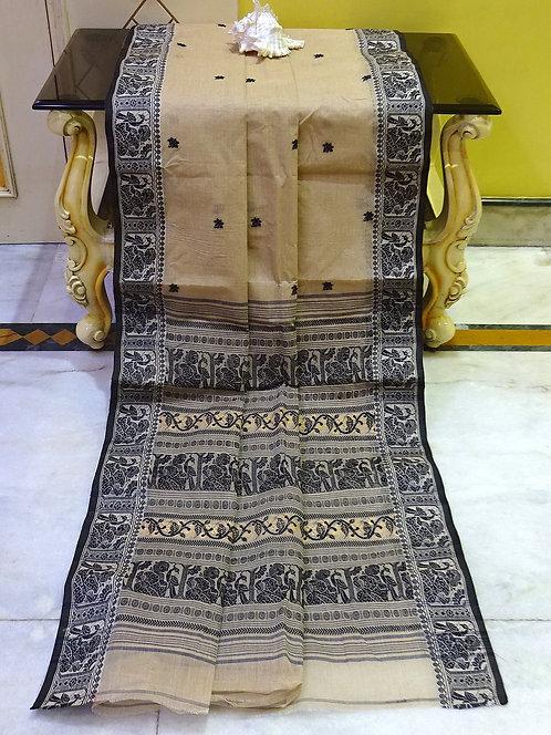Bengal Handloom Cotton Baluchari Saree with Starch in Beige and Black