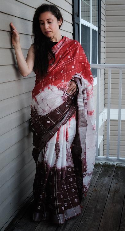 Shibori Soft Cotton Saree in Orange, Brown and White