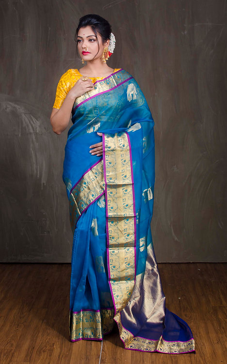Organza Kanchipuram Saree in Blue and Gold