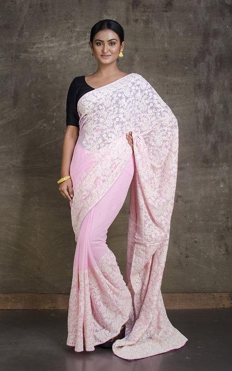 Lucknow Chikankari Designer Saree in Baby Pink and White