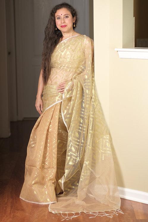 Soft Muslin Jamdani Saree in Beige and Gold