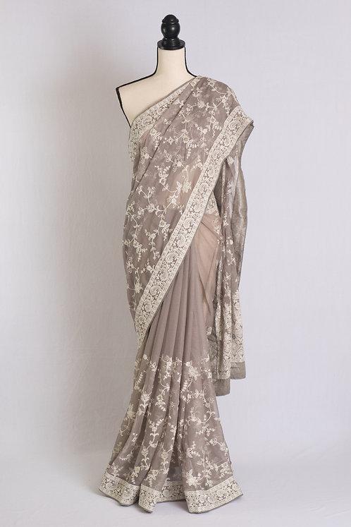 Machine Work Chikankari Embroidery Chiffon Saree in Gray and White