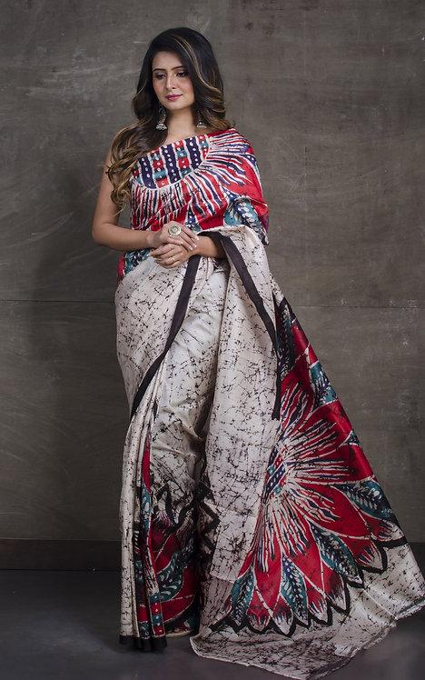 Contemporary Batik Pure Silk Saree in Cream, Black and Red