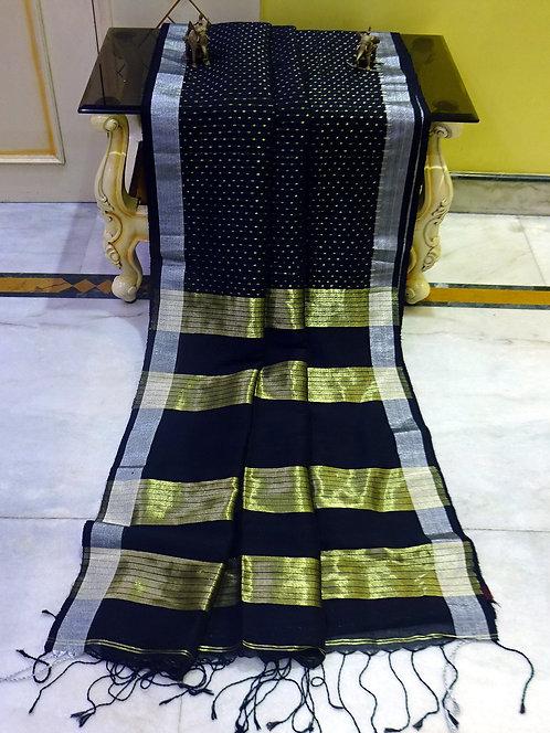 Small Dots Motif Linen Banarasi Saree in Black, Gold and Silver er