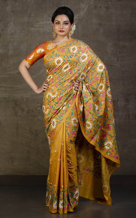 Hand Embroidery Kantha Stitch Saree on Pure Silk in Mustard Yellow