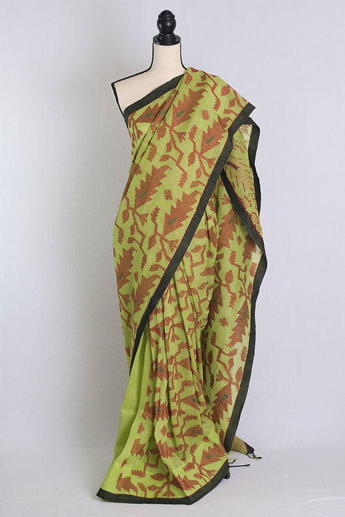 Linen Jamdani Saree in Green and Red