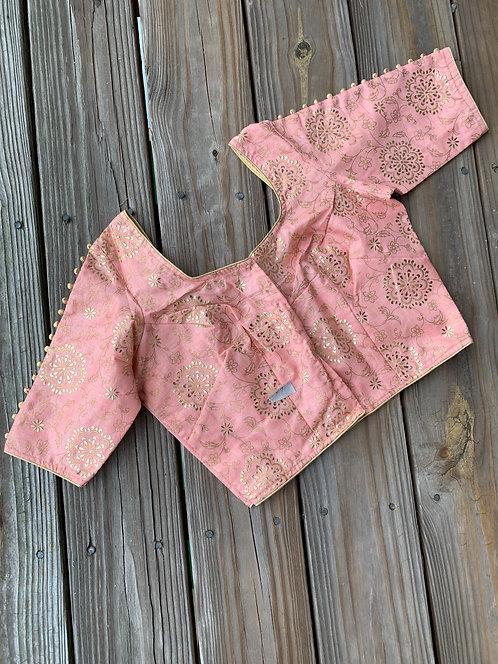 Baby Pink Designer Saree Blouse in Size 40