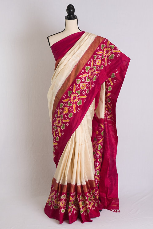 Pochampally Double Ikat Saree in Off White and Hot Pink
