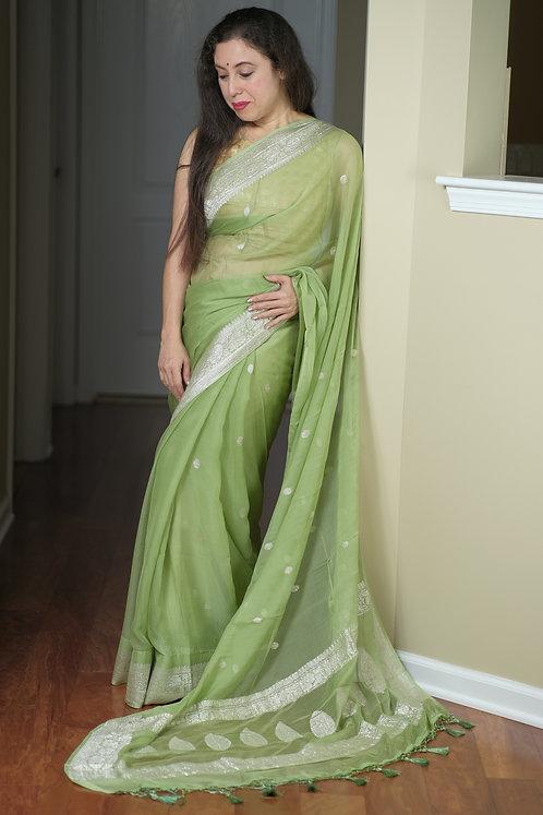 Chiffon Banarasi Saree with Silver Zari in Sage Green
