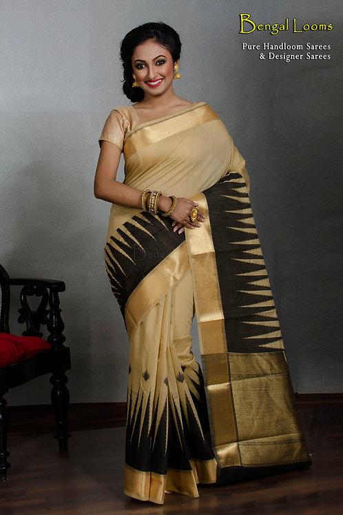 Silk Cotton Banarasi Saree in Black Temple Border