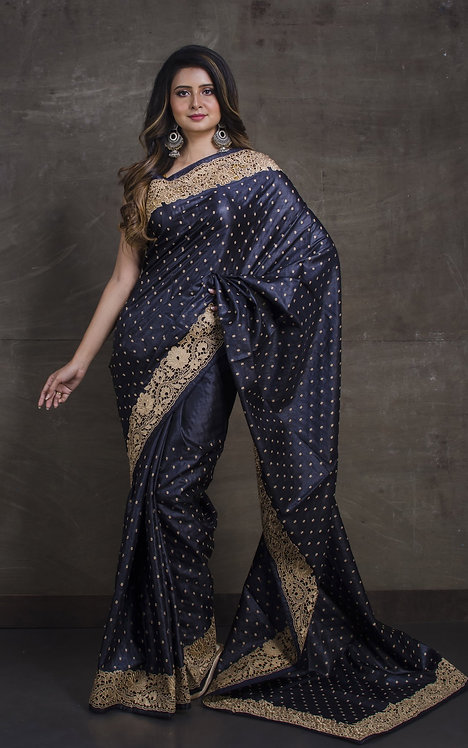 Tussar Embroidery Saree With Cut Work Border in Black