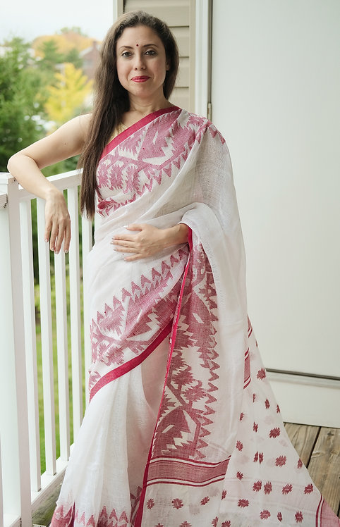 Pure Linen Jamdani Saree in White and Red