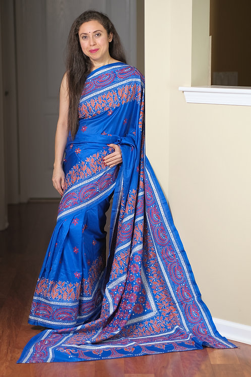 Hand Embroidered Kantha Stitched Pure Silk Saree in Blue