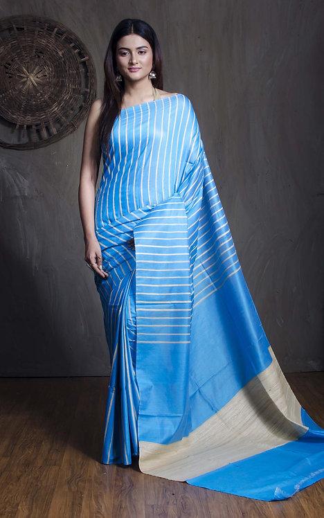 Staple Tussar Saree in Blue and Cream