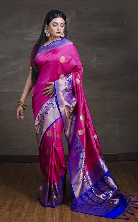 Pure Banarasi Katan Silk Saree in Hot Pink and Blue
