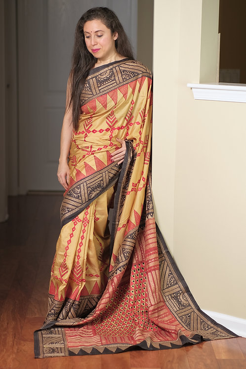 Hand Embroidered Kantha Stitched Pure Silk Saree in Beige,Black and Red