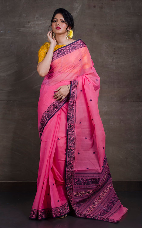 Bengal Handloom Cotton Saree with Starch in Pink and Black