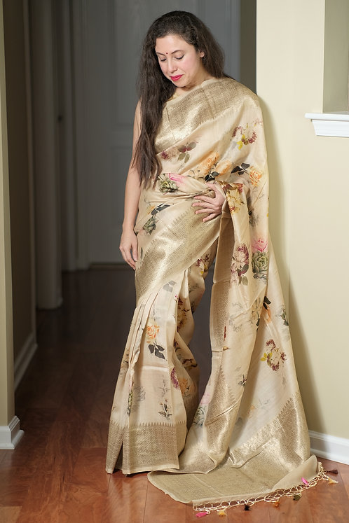 Tussar Georgette Floral Banarasi Saree in Off White and Gold