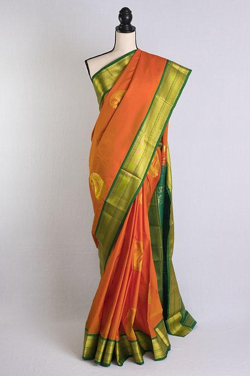 Art Silk Kanjivaram Saree in Orange, Green and Gold