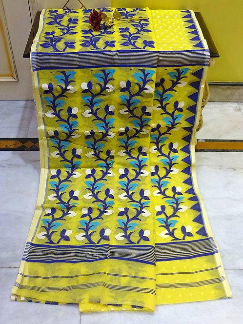 Skirt Border Jamdani Saree with Starch in Yellow and Blue